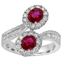 Platinum Toi-et-Moi Ring Set with Diamonds and Ruby Gemstones