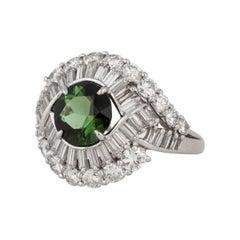 Platinum Tourmaline Diamond Ring