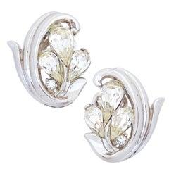 Platinum Trifarium Earrings With Teardrop Crystals By Crown Trifari, 1950s