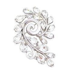 Platinum Trifarium Swirl Brooch With Teardrop Crystals By Crown Trifari, 1950s