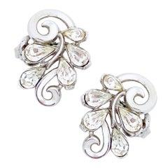 Platinum Trifarium Swirl Earrings With Teardrop Crystals By Crown Trifari, 1950s