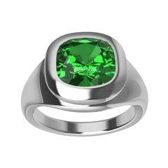 Platinum Tsavorite Sculpture Ring