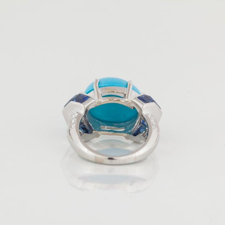 Women's or Men's Platinum Turquoise Sapphire Diamond Ring For Sale