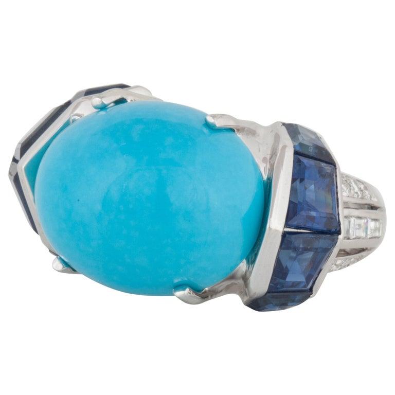 Platinum Turquoise Sapphire Diamond Ring For Sale