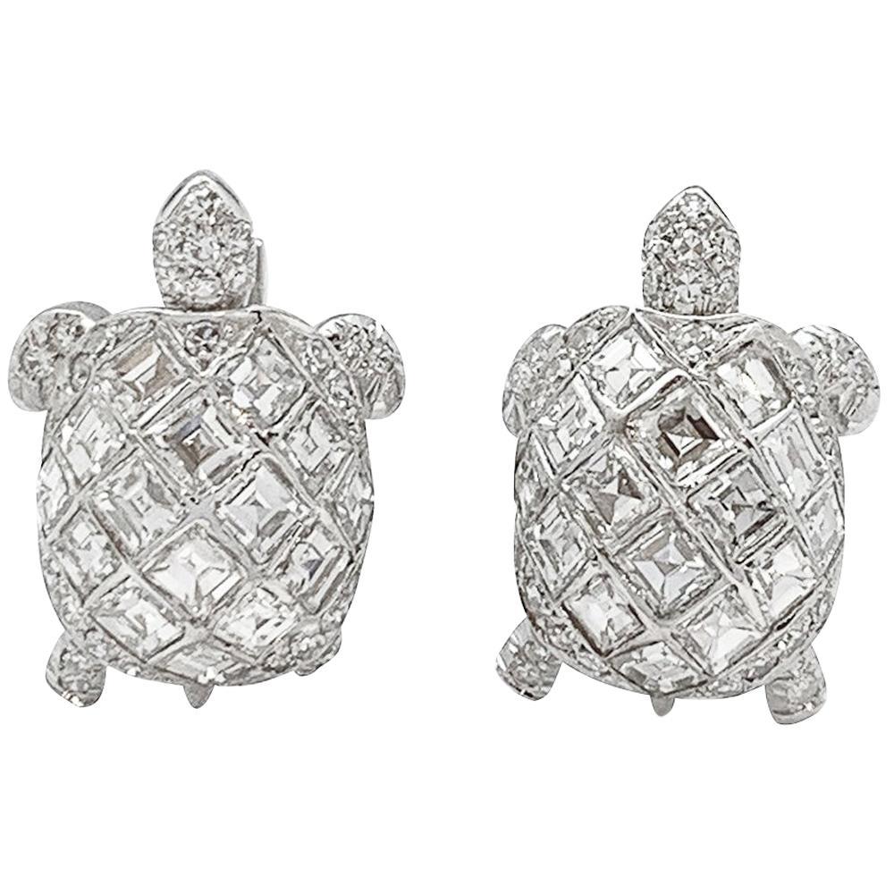 "Platinum ""Turtle"" Cufflinks, Set with Diamonds"
