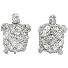 "Platinum ""Turtle"" Cufflinks, Set with Diamonds"
