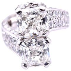 Platinum Two Diamond Cross Over Custom Fashion Engagement Ring