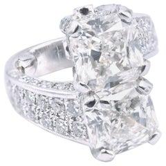 Platinum Two Diamond Cross over Custom Fashion Engagement Ring