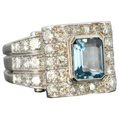 Platinum Unisex Ring with Aquamarine and Diamonds, circa 1950s