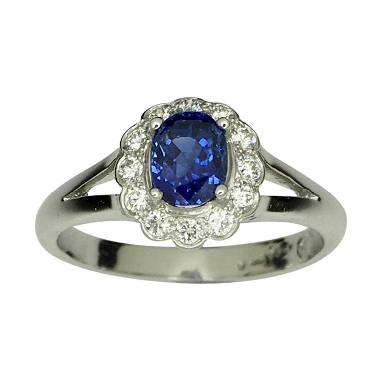 Platinum Untreated Ceylon Sapphire Diamond Cluster Ring