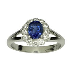 Platinum Untreated Ceylon Sapphire Diamond Cluster Ring