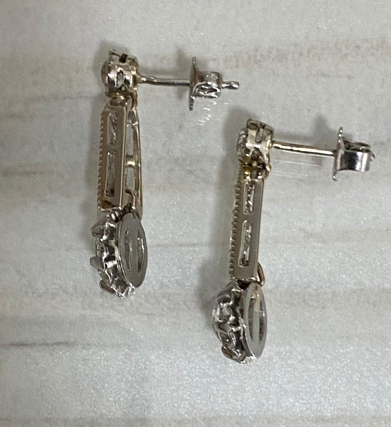 Approx 3 carat old European and brilliant cut diamonds set in platinum. Milgrain and settings are all original Art Deco. The 2 top old European diamonds  are newly added to beautifully dangle. Each 2 larger old European cut on bottom in original Art