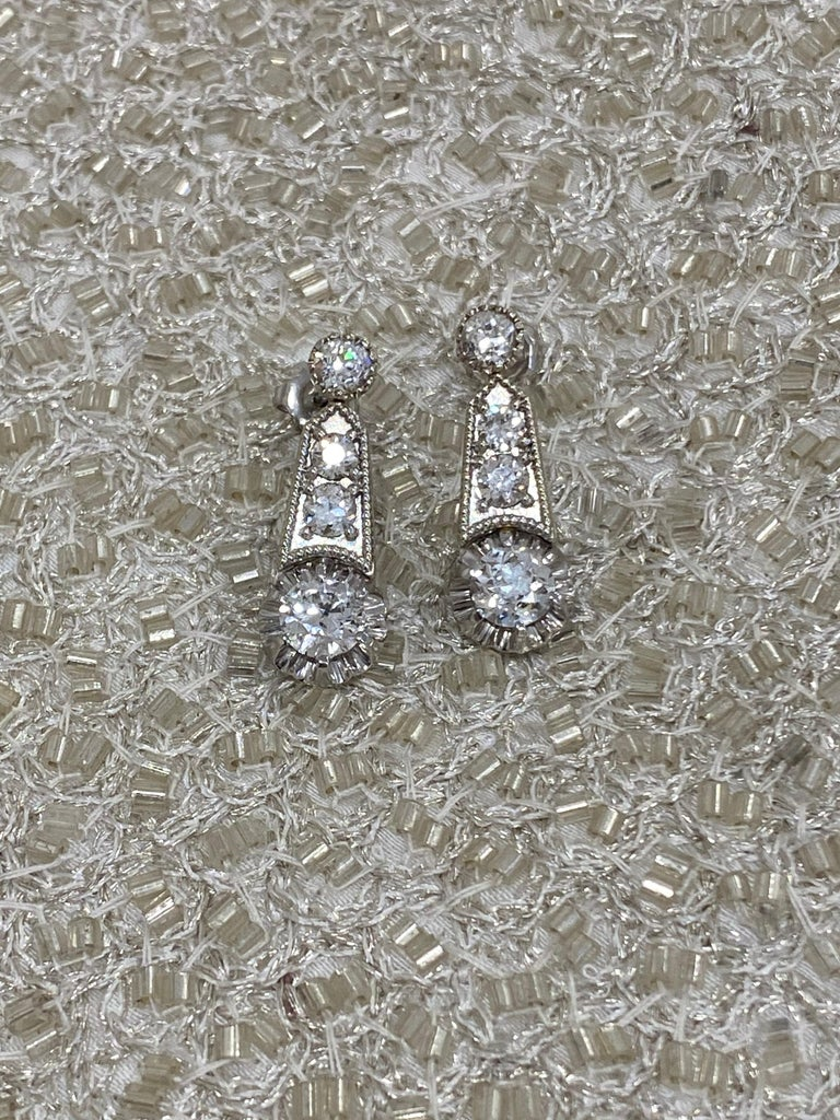 Art Deco Platinum Updated Deco Revival 3 Carat Milgrain Dangling Earrings For Sale
