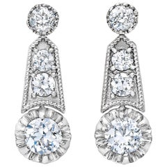 Platinum Updated Deco Revival 3 Carat Milgrain Dangling Earrings