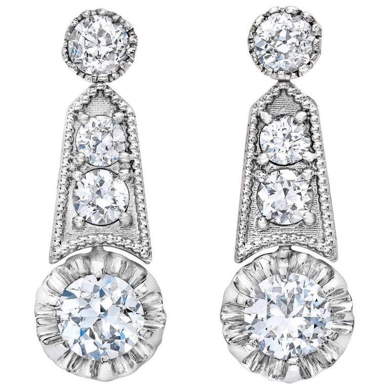 Platinum Updated Deco Revival 3 Carat Milgrain Dangling Earrings For Sale