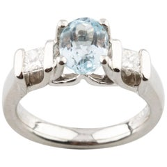 Platinum Verragio Oval Blue Topaz & Channel-Set Diamond Ring TCW = 1.85  w/ CoA