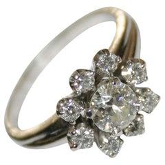 Platinum Vintage 0.79 Carat Diamond Women's Cluster Style Ring