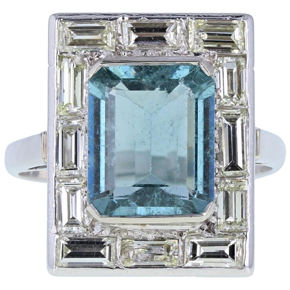 Platinum Vintage Aquamarine Diamond Cocktail Ring