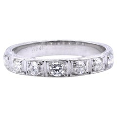 Platinum Vintage Diamond Wedding Band