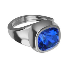 Platinum Vivid Cushion Cut Blue Sapphire Unisex Sculpture Ring
