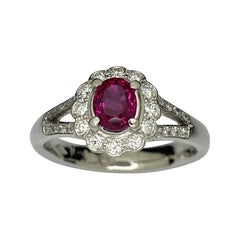 Platinum Vivid Ruby Diamond Cluster Ring