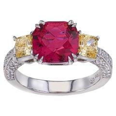 Platinum Vivid Yellow Diamond and 2.55 Carat Pink Tourmaline Ring