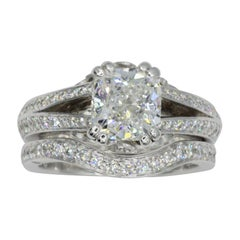 Platinum Wedding Set with GIA 1.52 Carat E VS1 Premium Cushion Brilliant Diamond