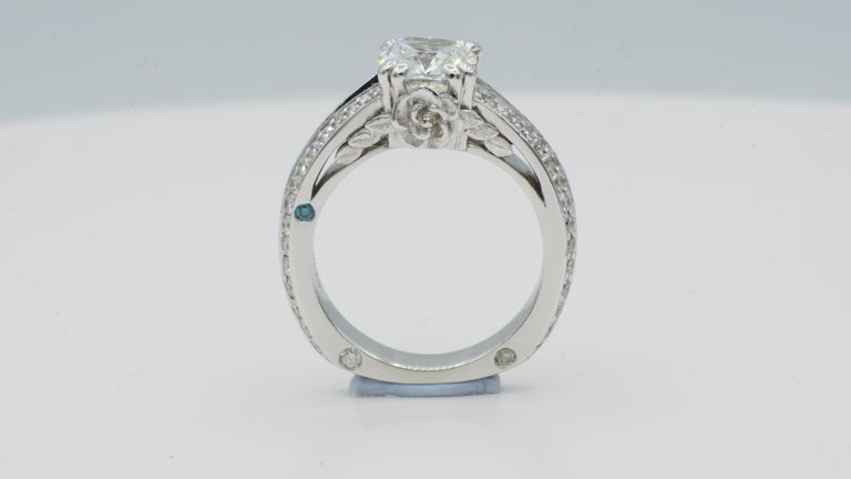 Platinum wedding set with GIA 1.52ct E VS1 Premium Cushion Brilliant and .95cttw by Rock N Gold Creations Rock N Gold Creations Designed Platinum Diamond Engagement Ring. The design of this ring has a cushion cut diamond center set all in platinum