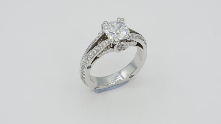 Platinum Wedding Set with GIA 1.52 Carat E VS1 Premium Cushion Brilliant Diamond In Excellent Condition For Sale In Rancho Santa Fe, CA