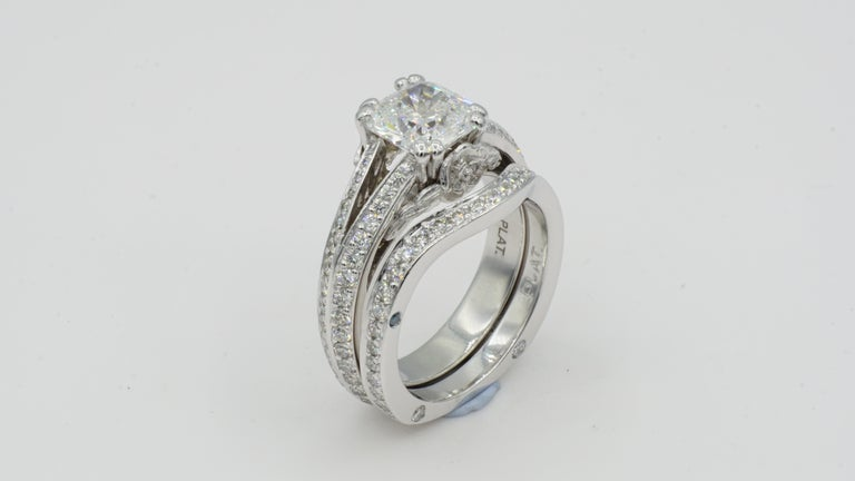 Women's Platinum Wedding Set with GIA 1.52 Carat E VS1 Premium Cushion Brilliant Diamond For Sale