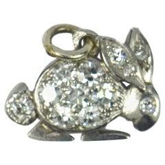Platinum White Diamond Rabbit Charm Pendant