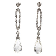 Platinum, White Diamonds, Rock Crystals, Drop Earrings