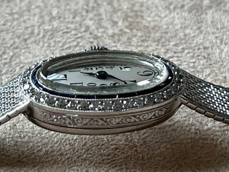 Platinum White Gold Art Deco Diamond Spphire Wrist Watch For Sale 1