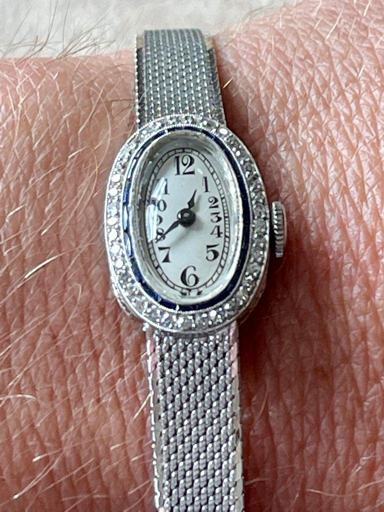 Platinum White Gold Art Deco Diamond Spphire Wrist Watch For Sale 3