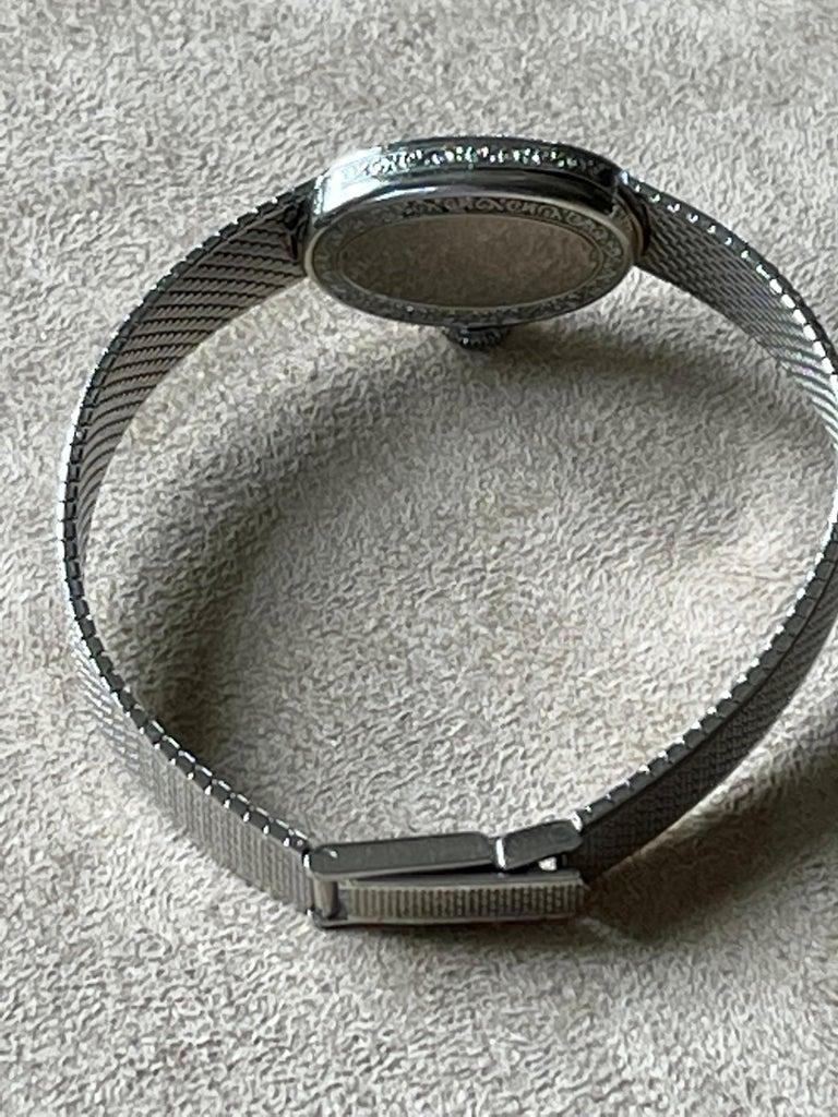 Platinum White Gold Art Deco Diamond Spphire Wrist Watch For Sale 4