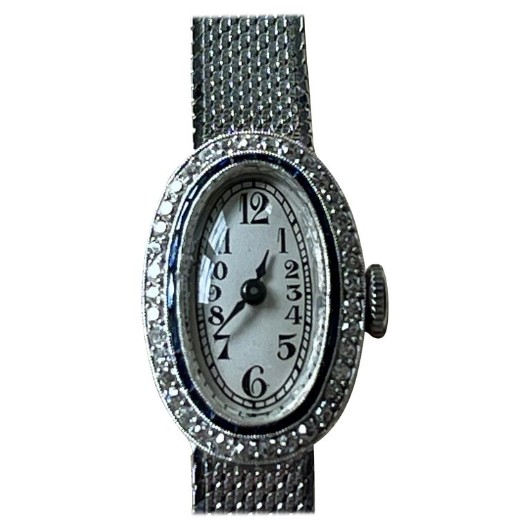 Platinum White Gold Art Deco Diamond Spphire Wrist Watch For Sale