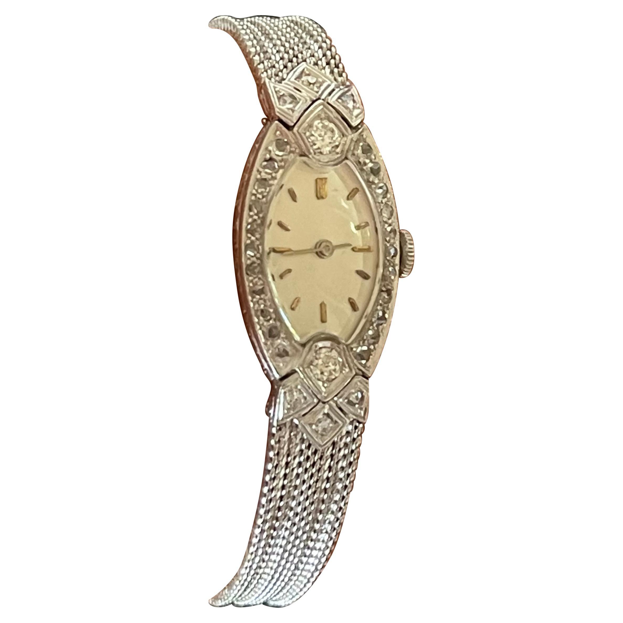 Platinum White Gold Art Deco Diamond Wrist Watch