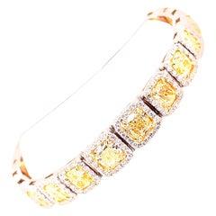 Platinum White Gold Yellow and White Diamond Bracelet