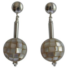 Platinum White Mother of Pearl 925 Sterling Silver Earrings