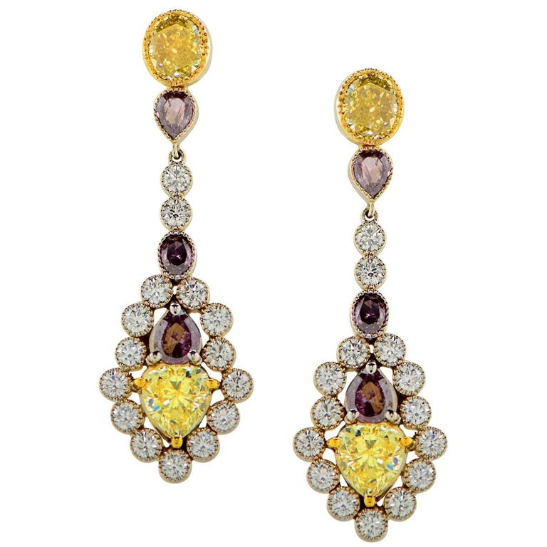 Platinum White Yellow Purple Diamond Drop Earrings GIA Certified For Sale