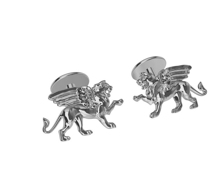 Tiffany designer , Thomas Kurilla created this for 1st dibs exclusively. Platinum Winged Griffin Cuff links  Sculpture is my passion. This griffin is getting ready to take on his enemy 4 teeth and all.  20 mm wide x 11.5 mm high x 3mm depth. Stamped
