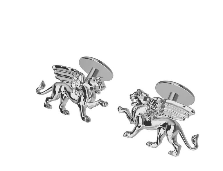 Contemporary Platinum Winged Griffin Cufflinks For Sale