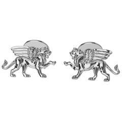 Platinum Winged Lion Griffin Cuff links