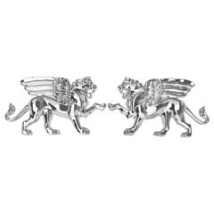 Platinum Winged Lion Griffin Stud Earrings