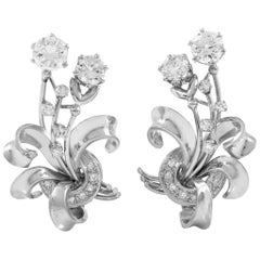 Platinum with 3.80 Carat of Diamonsa Earrings