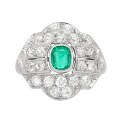 Platinum with Center Stone Emerald and Diamonds Ring