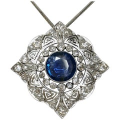 Platinum with Diamond and Sapphire Necklace