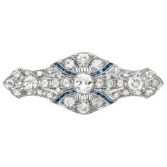 Platinum with Diamonds and a Hint of Synthetic Sapphire Brooche