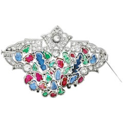 Platinum with Diamonds and Carved Sapphire Emerald and Ruby Brooch