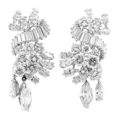 Platinum with Gia Marquise and Round with Baguette Earrings
